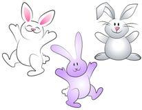 Lapins de Pâques assortis de dessin animé illustration stock