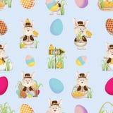 Lapins de Pâques dans des chemises, des gilets et des chapeaux, des poulets, des oeufs, des indicateurs et herbe Configuration sa illustration de vecteur