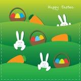 Lapins de Pâques, oeufs, paniers et raccord en caoutchouc illustration de vecteur