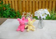Lapins de Pâques, panier et affichage de lis Photos stock