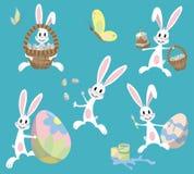 Lapins drôles de Pâques dans un style plat illustration libre de droits