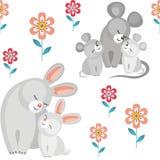 Lapins et mouses Photos stock