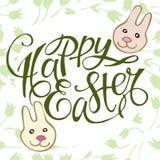 Lapins mignons de Pâques avec marquer avec des lettres Joyeuses Pâques sur le fond floral, illustration illustration de vecteur