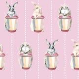 Lapins mignons sur un fond rose Lapins de Pâques Modèle sans couture doux Lièvres avec une tasse de café illustration libre de droits