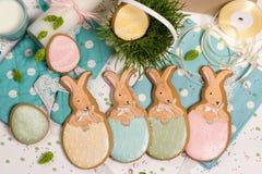 Lapins multicolores de Pâques en miel-gâteau d'oeufs, herbe, photographie de nourriture Photos libres de droits