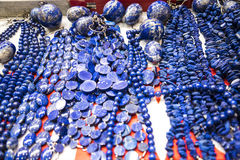 Lapis Lazuli objects at the Festival of the Orient in Rome Italy. The Festival of the Orient was held at the Exhibition Centre near Rome Airport at Fumincino on Stock Photography