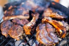 Lapje vlees bij de grill Royalty-vrije Stock Foto
