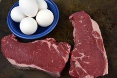 Lapje vlees en Eieren stock foto