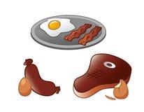 Lapje vlees en Eiereninzameling Royalty-vrije Stock Afbeeldingen