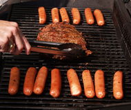 Lapje vlees en Hotdogs Royalty-vrije Stock Afbeelding