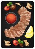 Lapje vlees en Saus op Plaat vector illustratie