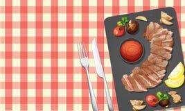 Lapje vlees en Saus op Plaat royalty-vrije illustratie