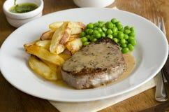 Lapje vlees en spaanders Stock Fotografie