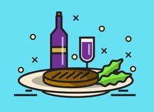 Lapje vlees en wijn royalty-vrije illustratie