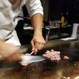 Lapje vlees gekookte teppanyakistijl stock foto's