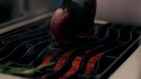 Lapje vlees het koken op een grill dicht omhoog stock videobeelden