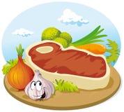 Lapje vlees met groente Royalty-vrije Stock Foto's