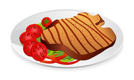 Lapje vlees met groenten op een plaat vector illustratie
