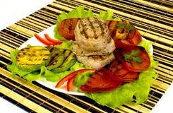 Lapje vlees met groentengrill Stock Afbeeldingen