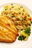 Lapje vlees met rijst en erwten Royalty-vrije Stock Foto