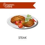 Lapje vlees met tomaten van Europese keuken geïsoleerde illustratie royalty-vrije illustratie