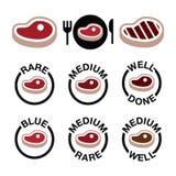 Lapje vlees - middelgrote, zeldzame, goed uitgevoerde, geroosterde geplaatste pictogrammen Stock Foto's