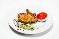 Lapje vlees op plaat voor menu Stock Foto's