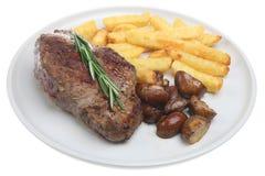 Lapje vlees, Spaanders & Paddestoelen Stock Foto's