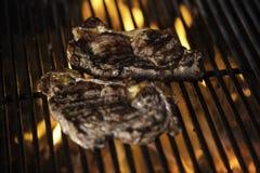 Lapjes vlees op de barbecue Stock Afbeeldingen