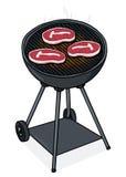 Lapjes vlees op een illustratie van de Grill Stock Foto's