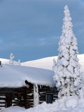 Lapland. Snow-covered trees and the river in Lapland at the end of the polar winter (panoramic view royalty free stock photography