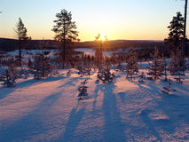 Lapland. The beginning of polar day in Lapland. The sun over the horizon stock photo