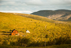 Lapland. Camping site with huts in Lapland royalty free stock photos