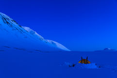 Lapland camping. Winter campsite at dusk in Swedish Lapland, near Kungsleden Stock Photos
