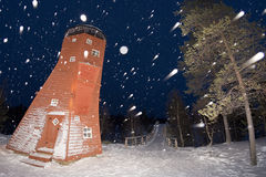 Lapland Elf Tower while snowing Royalty Free Stock Images