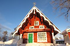 Santa`s Office in Lapland, Finland. Lapland, Finland - January 31, 2017: Finland claims to be the home of Santa Claus. This red log cabin in Saariselka says it royalty free stock images