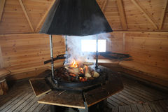Lapland Fireplace In A Sami Kota. Finland Stock Photos