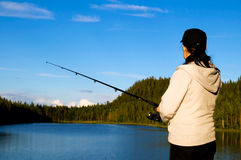 Lapland fishing Royalty Free Stock Images