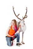 Lapland girl with white caribou Royalty Free Stock Images