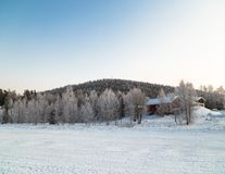 Lapland landscape. In cold winter day royalty free stock photo