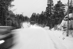 Lapland road in winter Stock Image