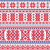 Lapland, Sami people  seamless pattern, Scandinavian, Nordic folk art in red and blue. Retro patterns from Norway, Sweden, Finland, and the Murmansk Oblast of Royalty Free Stock Images