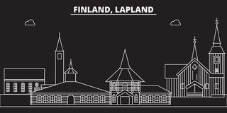 Lapland silhouette skyline. Finland - Lapland vector city, finnish linear architecture, buildings. Lapland travel. Lapland silhouette skyline. Finland - Lapland Stock Photos