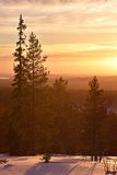 Lapland solnedgång Arkivbilder