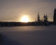 Lapland Sunset. Pristine unspoilt landscape losing the last warmth of light in lapland Finland Royalty Free Stock Photography