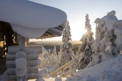 Lapland winter wonderland royalty free stock images