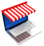 The lapotp shop. 3d generated picture of a lapotp shop stock illustration