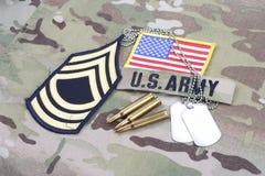 Lapp för fanjunkare för USA-ARMÉ frodig, flaggalapp, med hundetiketten med 5 56 mmrundor på kamouflageFN Royaltyfria Foton