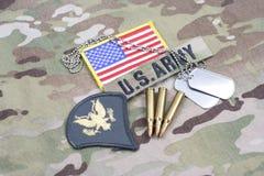Lapp för specialist för USA-ARMÉ frodig, flaggalapp, med hundetiketten med 5 56 mmrundor på kamouflageunifo Arkivfoton