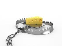 Lappa av ost - ett bete i en fälla Arkivbild